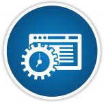35444801 - software icon on blue button,clean vector