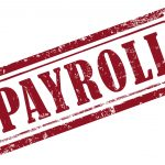 39872804 - stamp payroll in red over white background