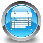 50632089 - calendar icon glossy cyan blue round button